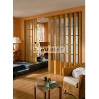 Двери гармошка  Дуб Структурированное стекло